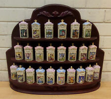 FULL SET OF 24 DISNEY LENOX 1995 SPICE JARS & WOODEN RACK - VGC