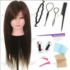 "50% Human Hair 24"" Training doll Head practice Hairdressing Mannequin Braid Set"