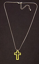 SILVER METAL NECKLACE W. PASTEL YELLOW OPEN CROSS PENDANT, 7CM ADJUSTABLE (ZX40)