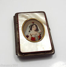 Antique Mother of Pearl Leather Calling Card Case, Portrait of Woman