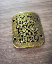 Quote Pendant Connector Antiqued Bronze Word Charms Six Impossible Things