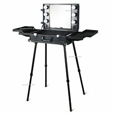 Beauties Factory Black Makeup Artist Cosmetic Rolling Case LED Light Trolley 857