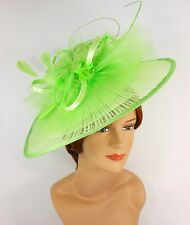 New Church Derby Wedding Pleated Fascinator Hat Headband S10-2450 Lime Green