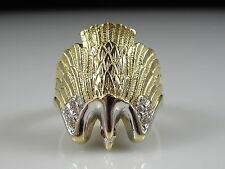 Eagle Ring 14K Two-Tone  White Yellow Fine Jewelry Bird Animal Size 8 Estate