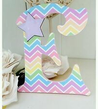 Shabby personalised girls wooden rainbow chevron letter/name sign chic