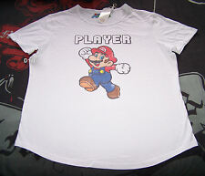 Nintendo Super Mario Player Mens White Printed Short Sleeve T Shirt Size XXL New