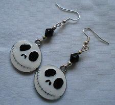 Handmade Jack The Nightmare Before Christmas earrings silver plated enamel white