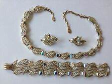 VINTAGE CORO SIGNED BOREALIS RHINESTONE NECKLACE BRACELET AND EARRINGS