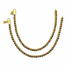 Gold Plated Indian Anklets Bollywood Ankle Bracelet Traditional Women Jewelry