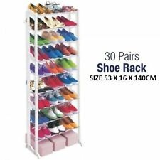10 Tier Shelf Shoe Rack Organizer Stand Cupboard For 30 Pairs Shoes Steel