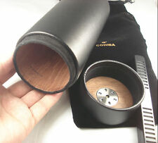 Black COHIBA Genuine leather Travel Cigar Tube Jar Humidor Hygrometer Humidifier