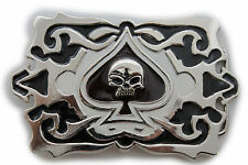 Men Silver Large Belt Buckle Square Black Skull Skeleton Ace Of Spades Gothic