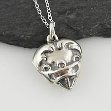 Small Heart Photo Locket Necklace - 925 Sterling Silver - Hearts Love Gift NEW