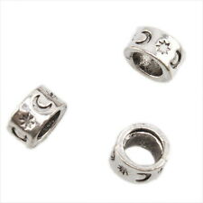 20pcs Hot Antique Silvery Star Moon Carved Alloy Beads Fit DIY European Bracelet