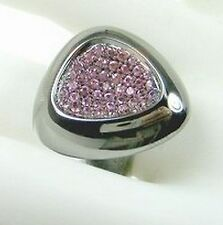 Roberto Coin 6.5 Capri Plus Sterling Silver Ruthenium Pink Rhodolite Ring Women
