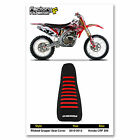 2010-2013 HONDA CRF 250 Black with Red Ribs RIBBED SEAT COVER BY Enjoy Mfg