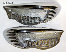 Triumph Chromed Eyebrow Tank Badges TR6 T120 Bonneville 82-6887 82-6888 1966-68
