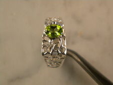 Mens Solitaire Ring 8x6 Oval Cut Peridot 1.50 ct, sz 11, 925 Silver