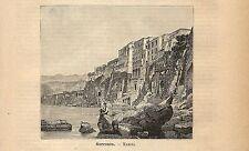 Stampa antica SORRENTO veduta della marina Napoli 1891 Old antique print