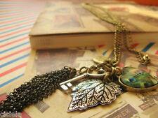 Lady Vintage Long Sweater Chain Love Peacock Feather Leaves Key Tassel Necklace