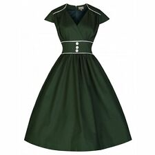 NEW VINTAGE 50'S STYLE POLLY BOTTLE GREEN ROCKABILLY SWING PARTY DRESS SIZE 18