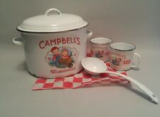 2002 Campbell's Tomato Soup Enamelware 6 qt Pot with 2 Mugs, ladle and lid