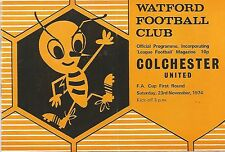 Football Programme - Watford v Colchester United - FA Cup - 23/11/1974