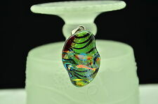 925 STERLING SILVER SQUARE ABSTRACT SHAPE DICHROIC GLASS PENDANT CHARM #X-10779