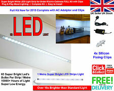 Super Bright White LED Light Strip for Under Kitchin Cabinets FULL Kit w/ Clips