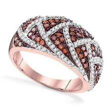 Amazing Design! 100% 10K Rose Gold Red & White Diamond Cluster Ring .70ct