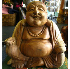 WOODEN HAPPY BUDDHA STATUE Figure 25cm CHINESE LAUGHING Sitting HAND CARVED E