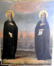 19C Large Antique Russia Russian Church Saints Zosima and Savvaty Icon 30x24inch