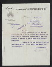 """SAINT-ETIENNE (42) USINE de CYCLES """"AUTOMOTO"""" en 1911"""