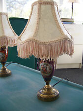 Vintage Victorian Lamps Gold Gilt Painted Parlor Lamps Lot of 2 w/ Shades