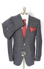 CORNELIANI Leader Plaid 17.25 Micron Wool 2Btn Flat Front Suit 54 7R 44 R NWT