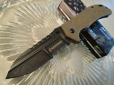 USMC Elite Tactical Mtech Assisted Desert Raider Spear Point Pocket Knife G10