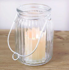Hanging LED Candle Ribbed Glass Jar Flameless Battery Operated Lantern
