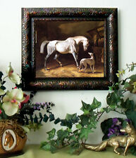 Herring Thoroughbred Gray RACE Horse Print Framed Print picture