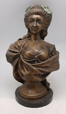French Bronze Bust of Marie Antoinette on Marble Base