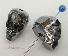 1x SWAROVSKI 5750 Silver Night 13mm SKULL SPACER BEAD CRYSTAL
