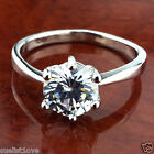 Classic fashion lady 14k white gold plated 1 ct crystal ring size 7 lady