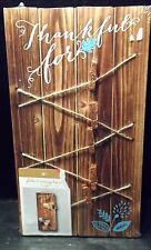 Photo Message board Hanging Brown wood Clips Thankful For Picture Memo Notes