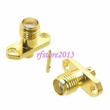 "1pce Connector RP-SMA female 2-holes Flange solder RG405 0.086"" cable RF COAXIAL"
