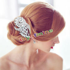 Bridal Romantic Flower Floral Bouquet Pearl Hair Comb Rhinestone Crystal Clear