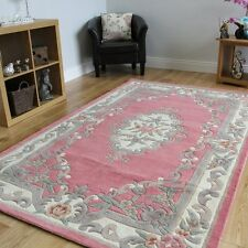 Lotus Premium Aubusson Traditional 100% Wool Rug, Pink 150 x 240 cm (5ft x 8ft)
