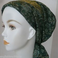 Dark Green Floral Cancer Chemotherapy Hat Alopecia Hairloss Scarf Turban