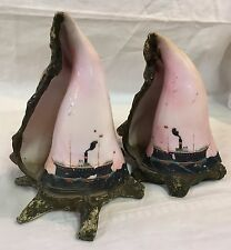 ANTIQUE 2 VICTORIAN HAND PAINTED STEAMSHIP CONCH SHELLS Bookends Mantel Ornament