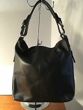 Genuine Italian Black Hobo Bag With Two Straps. Long And Short.