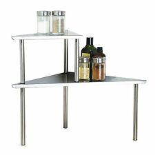 Stainless Steel 2 tier corner shelf storage organizer counter kitchen