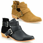 Ladies Womens Mid Block Heel Zip Up Cowboy Cut Out Ankle Biker Boots Shoes Size